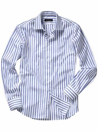 Aufstrebendes Businesshemd Streifen weiß/blau Detail 1