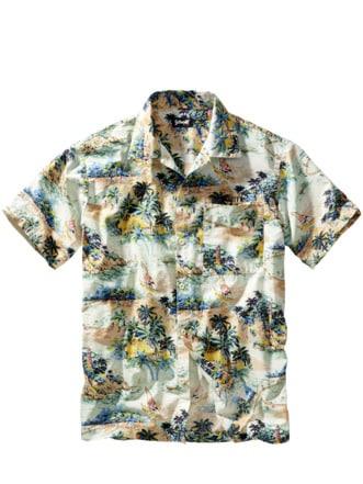 Aloha-Friday-Hemd Palmen weiß Detail 1