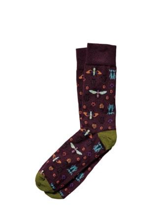 Käfer-Socke burgunder Detail 1