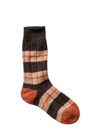 Mr. John`s Socke Streifen terrakotta Detail 1