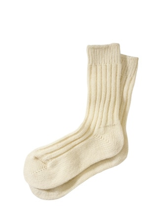 Alpaka-Socke weiß Detail 1