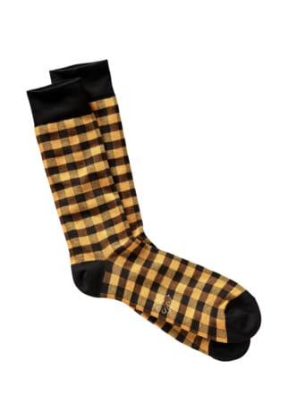 Raster-Socke Karo gelb/schwarz Detail 1