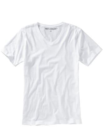 Slim Benchmark-Shirt V-Neck weiß Detail 1