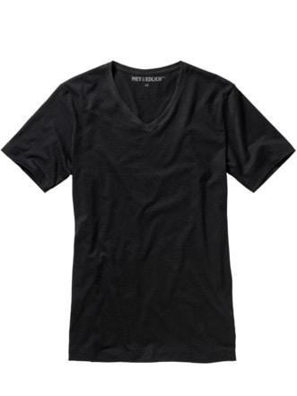 Slim Benchmark-Shirt V-Neck schwarz Detail 1