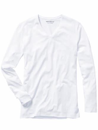 Benchmark-Shirt Langarm weiß Detail 1