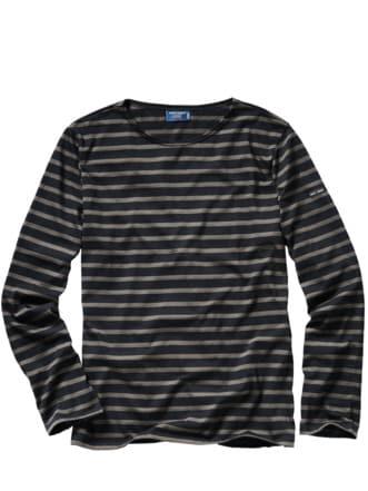 Bretagne-Shirt Streifen schwarz/taupe Detail 1