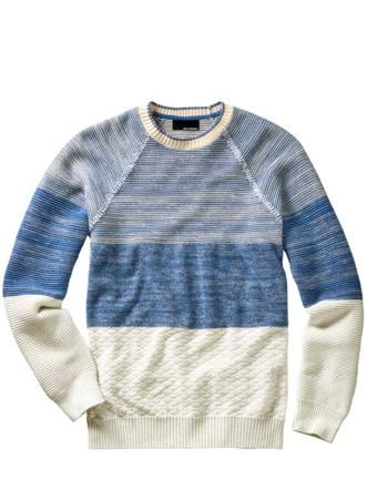 Gezeiten-Pullover Delfter blau/ecru Detail 1