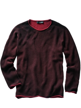 Schmirgel-Pullover blutrot Detail 1