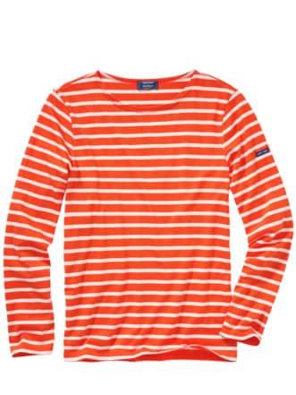 Bretagne-Shirt Streifen orange/weiß Detail 1