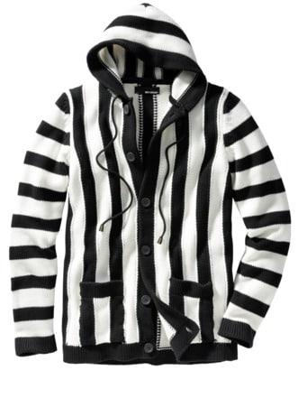 Haight-Ashbury-Cardigan schwarz & weiß Detail 1