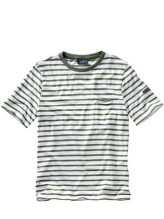 Bretagne-T-Shirt Gordes Streifen weiß/khaki Detail 1