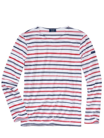 Bretagne-Shirt Special Streifen blau/rot Detail 1