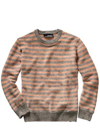 Viel-Viel-Leinenpullover Streifen grau/orange Detail 1