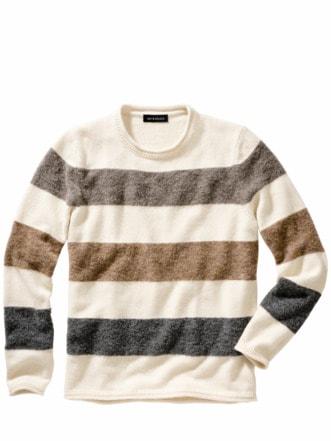 Blocksatz-Pullover Streifen offwhite/grau Detail 1