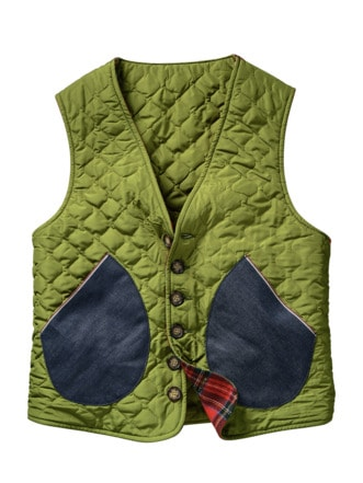 Lucky-one-Vest oliv/rot Detail 1