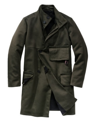Flap Coat oliv Detail 1