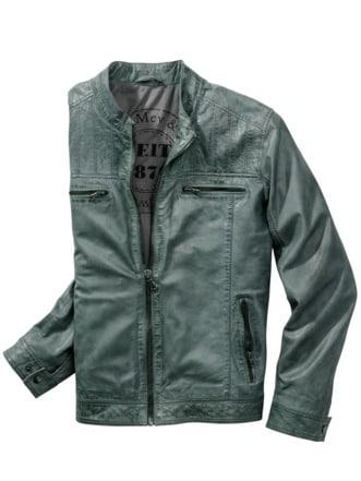 Stolze Lederjacke blau/grün/grau Detail 1