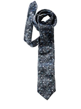 Millefleurs-Krawatte Blumen nachtblau Detail 1
