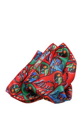Papagayo-Einstecktuch ararot-grün-blau Detail 1