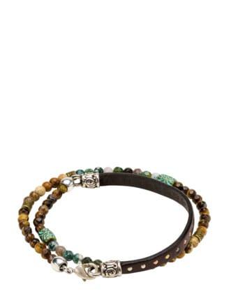 Kraftvolles Wickelarmband braun/grün Detail 1