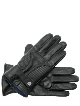 Smart-Lederhandschuhe schwarz Detail 1