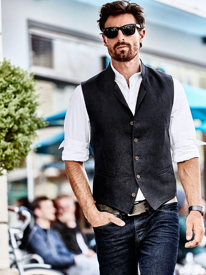 Smart Outfit Hopsack-Weste